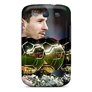 Hot The Player Of Barcelona Lionel Messi Is With His Trophies First Grade Tpu Phone Cases For Galaxy S3 Cases Covers