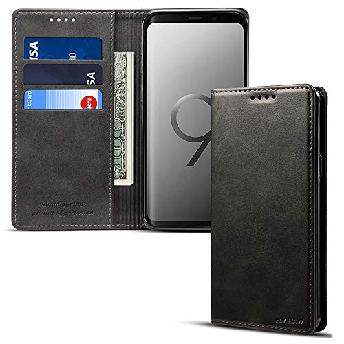 Samsung S9 plus Smart Leather Wallet Cell Phone Card Holder Case Kickstand Protective Flip Cover, Black