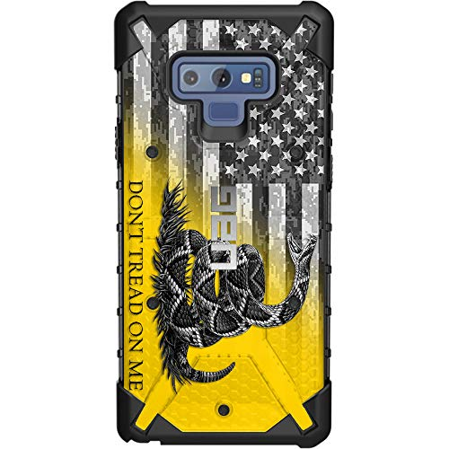 Limited Edition Customized Prints by Ego Tactical Over a UAG-Urban Armor Gear Case for Samsung Galaxy Note 9 - Don't Tread on Me Flag on US Camo Subdued Flag