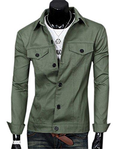 Cappotti Haroty Verde Uomo Colore Leggera Capispalla Bombardiere Fit Moda Giacche Jackets Slim xxl Solido xCtrqCw