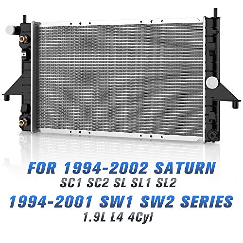 Complete Radiator for 1994-2002 Saturn SC1 SC2, 1994-2002 Saturn SL SL1 SL2, 1994-2001 Saturn SW1 SW2 Series 1.9L L4 4Cyl DWRD1020 (Best Affordable Station Wagons)