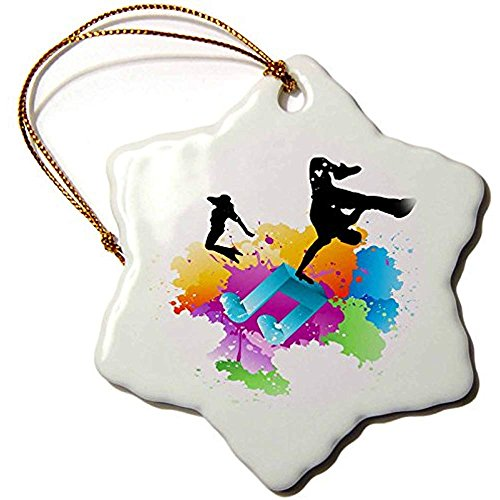 Ditooms Note On A Multi Color Splash Grunge Background with Silhouettes of Hip Hop Dancers Snowflake Ornament Porcelain 3-inch