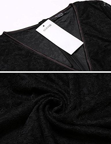 Damen XXL Cocktailkeid GR Swing A Kleid Weiß Schwarz Weinrot Linie Spitzenkleid Black V Sommerkleid Knielang ACEVOG Festlich Elegant Abendkleid Ausschnitt S dwTYgqdIH