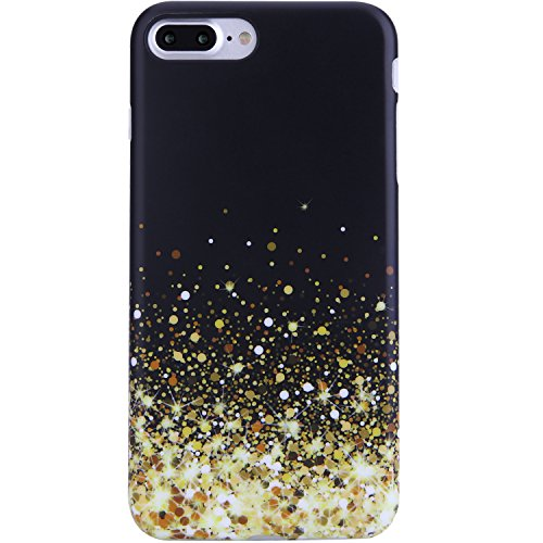iPhone 7 Plus Case for Girls,iPhone 8 Plus Case,Cute Black and Gold Sparkle Phone Case for Women or Kids,Clear Bumper Best Soft Silicone Rubber Matte TPU Slim Fit Protective Cover for iPhone 7/8 Plus