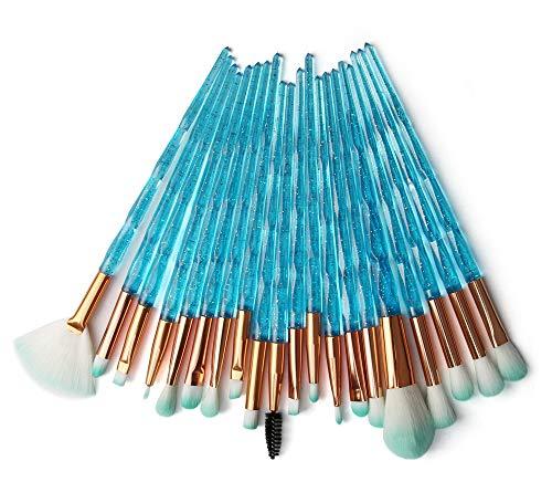 KOLIGHT Pack of 20pcs Cosmetic Eye Shadow Sponge Eyeliner Eyebrow Lip Nose Foundation Powder Makeup Brushes Sets…