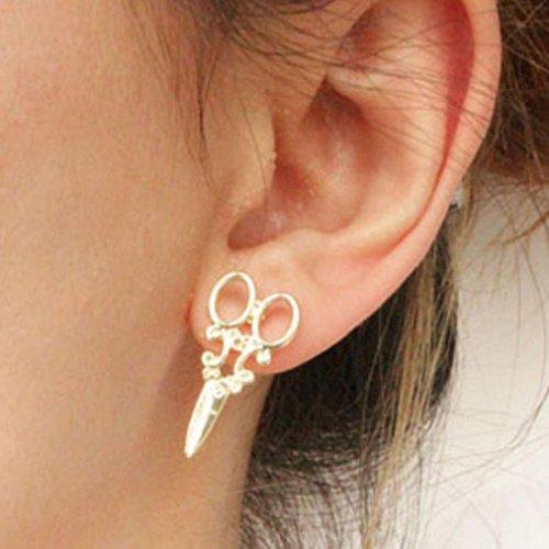 - Botrong 1Pair Fashion Unique Punk Women Girls Ear Stud Earring Jewelry (Gold)