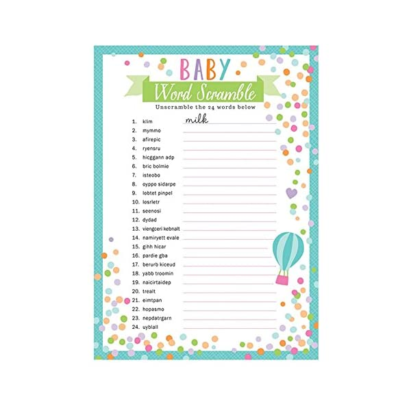 Baby Shower Word Scramble Game 24 Guests Blue Berry Baby Store