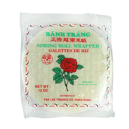 ROM AMERICA Red Rose Spring Rolls Wrapper Roll Skin Rice Paper Banh Trang 12 oz (Round 22 cm)