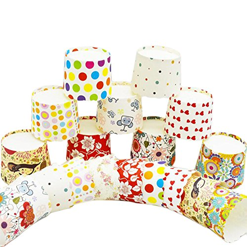 Ancdream 100 Count Rainbow Serise Wave Edge Greaseproof Cupcake Liners No Muffin Pan Needed Cupcakes Papers