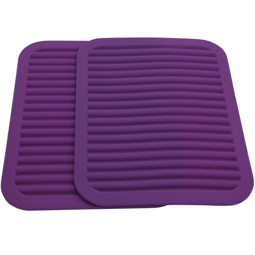 Lucky Plus Silicone Hot Pads and Trivets for Hot Dishes and Hot Pots, 2pcs Hot Mats for Countertops, Tables, Pot Holders, Spoon Rest Small Drying Mats Set of 2 Color Purple
