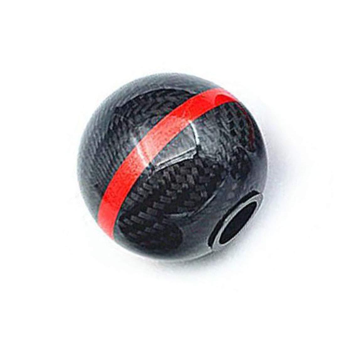 Richdoo Set Carbon Fibre 6 Speed Gear Shift Knob Shifter RED Stripe Mugen Style