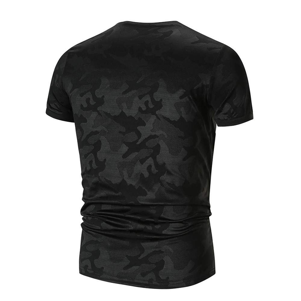 Men's Short Sleeve T-Shirt Baselayer Cool Dry Compression Top O Neck Camo Blouse by Jianekolaa_Tops