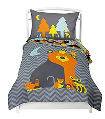 """Twin Reversible Woodland Creatures Duvet Cover Set with 1 Reversible Pillowcase for Kids Bedding -Double Brushed Ultra Microfiber Luxury Bed Sheet Set By Where The Polka Dots Roam (68"""" L X 86"""" W)"""