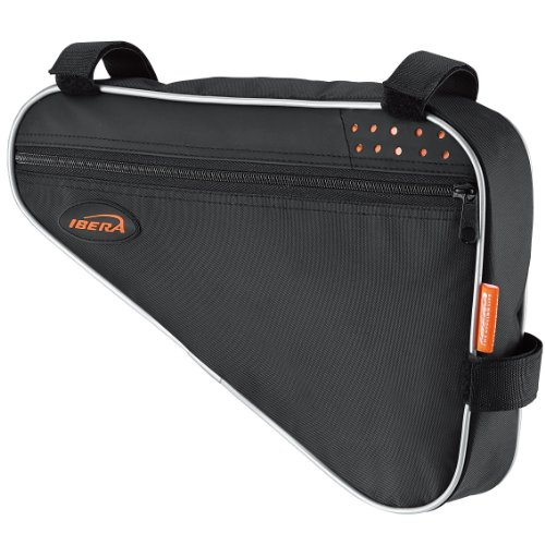 Ibera IB-FB1-M Bicycle Triangle Frame Bag, Strap-on Bike Top Tube Pouch, Cycling Essential Saddle Frame Bag with Reflective Trim, Crossbar Bike Pack(Medium: 3L Capacity) (Bike Lock Holder)