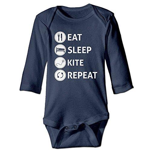 Fillmore Eat Sleep Kitesurf Long Sleeve Romper Outfits For 6-24 Months Infant 12 Months Navy