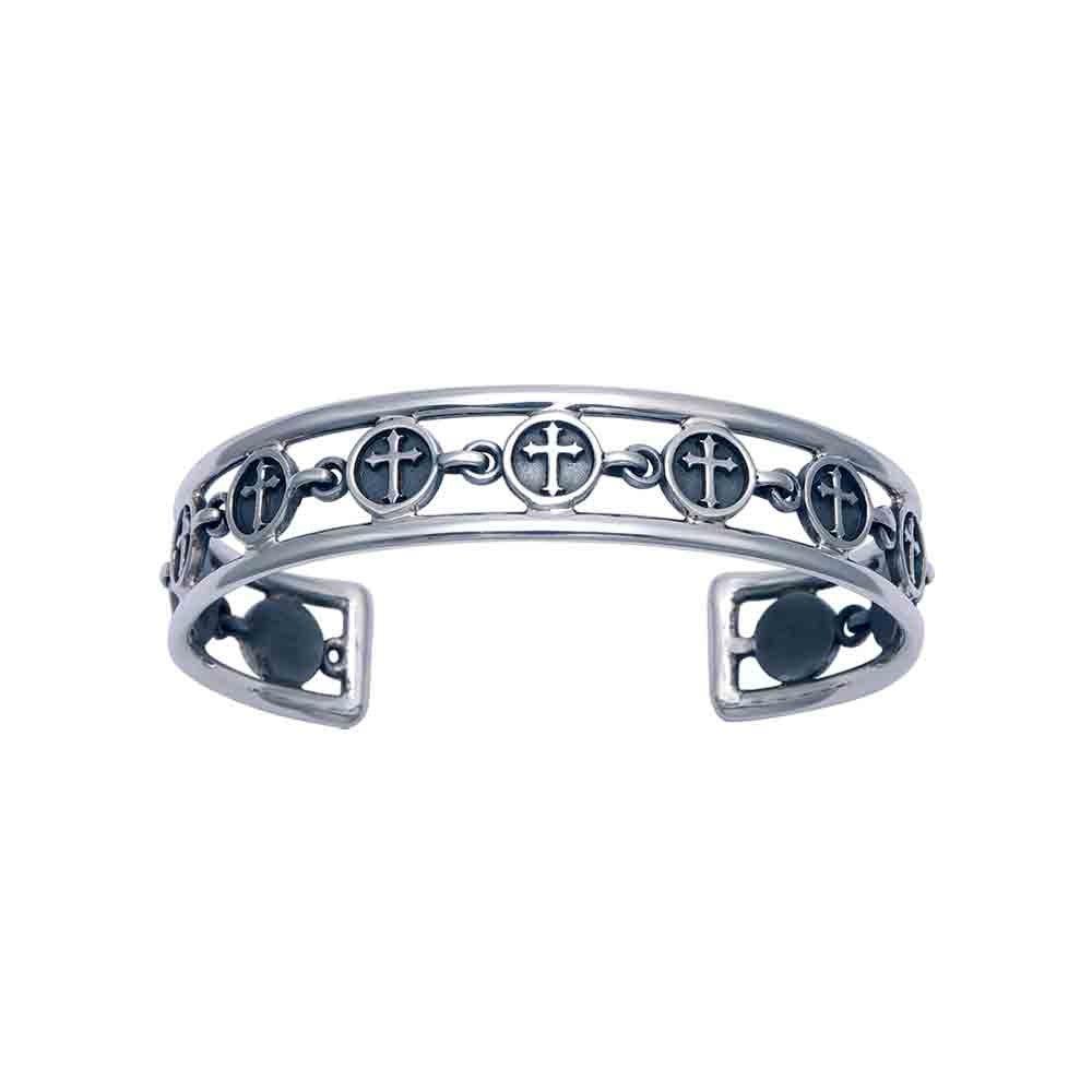 Woman's Openwork Sterling Silver Florentine Cross Cuff Bracelet