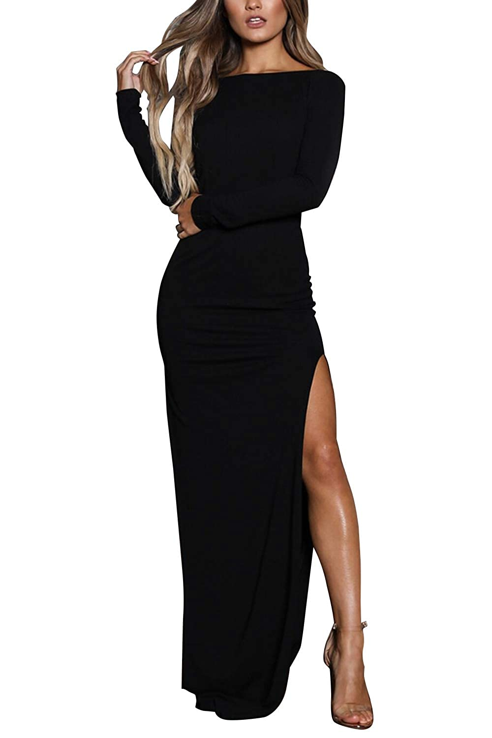 Zamtapary Womens Maxi Dresses Elegant Bodycon Backless Slit Long Evening Dress