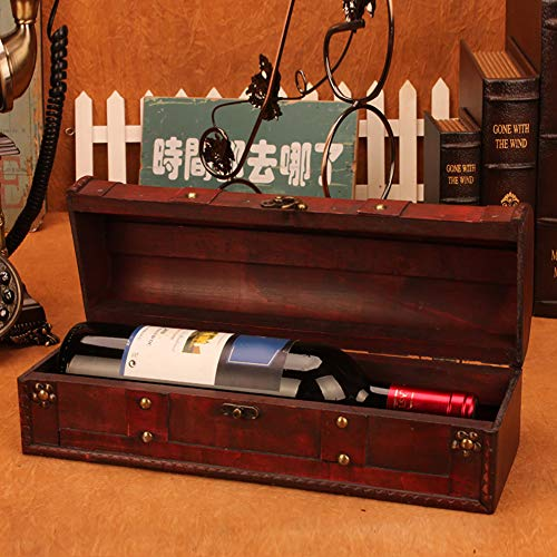 1 Bottle Wooden Red Wine Box Anniversary Ceremony Couples Wedding Wine Gift Box Holder Vintage Wine Case With Handle Wood and Faux Leather Antique Finish by Meltset (Image #5)