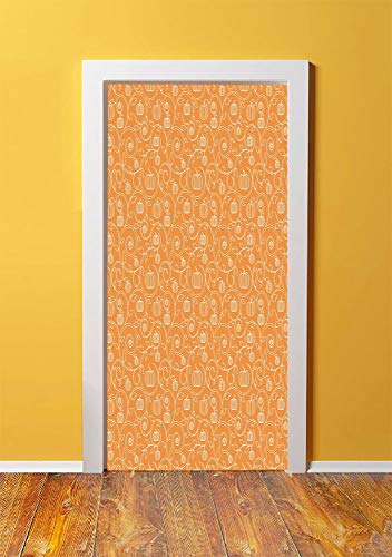 Harvest 3D Door Sticker Wall Decals Mural Wallpaper,Pattern with Pumpkin Leaves and Swirls on Orange Backdrop Halloween Inspired,DIY Art Home Decor Poster Decoration 30.3x78.183,Orange White]()