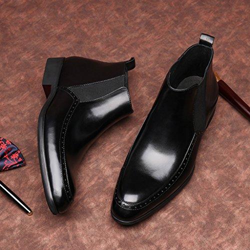 Herren Lederschuhe Herren Lederschuhe High-Top-Schuhe wies Business Short Martin Stiefel Herrenschuhe ( Farbe : Schwarz , größe : EU 41/UK7 ) Schwarz