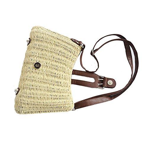 WANGXN Womens Mano Weave vacaciones de viajes de papel cuerda hierba hombro , rose red beige