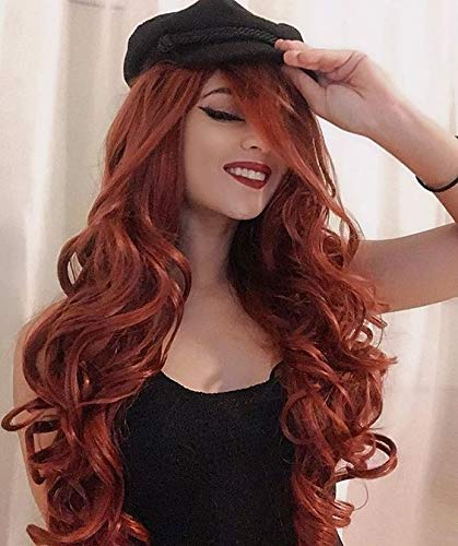 Auburn Wigs Long Wavy Red Wig Synthetic Red Wigs for Women Curly Ginger Wigs Dark Orange Wavy Hair Heat Resistant Red…