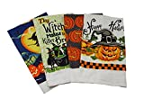 Home Concepts Halloween Print Kitchen Towels - 4 Assorted Designs - 15 x25 Inches