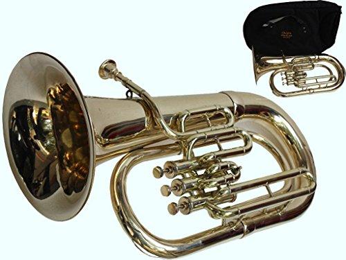 Global Art World Stylish Euphonium 3 Valves Shinning Flat Brass Along With Mouth Peice MI 083 by Global Art World