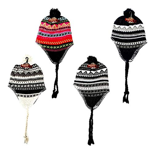 DINY Home & Style Wholesale Lot of 12 Men's Peruvian Ski Hat Beanie with Earflap Pom Pom Flannel Lined