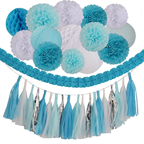 35 Pieces Blue Light Blue White Tissue Pom Poms Flower Party Paper Decor Kit for Wedding Decorations Baby Showers Birthday (Lights Decorations)
