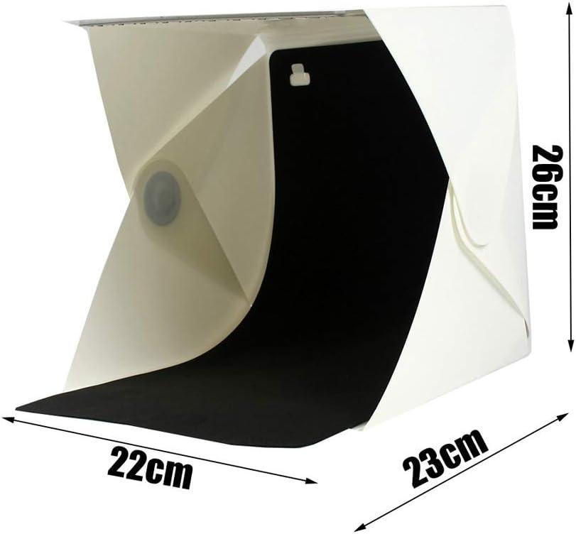 Color : Black+White Mini Studio Small Led Portable Magnetic Photography Light Box Set USB Powered Folding Photography Props