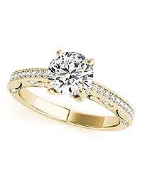 Silverczjewels 1.19 Carat White Diamond 14k Yellow Gold Prong Set Wedding Engagement Ring