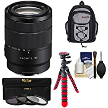 Sony Alpha E-Mount 18-135mm f/3.5-5.6 OSS Zoom Lens Backpack + 3 Filters + Tripod + Kit