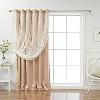 Best Home Fashion Lace Tulle Overlay Thermal Insulated Solid Wide Blackouts - Stainless Steel Nickel Grommet Top - Indiepink - 80W x 84L - (Single Panel)