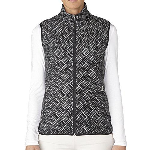 adidas Golf Womens Climawarm Printed Fleece Vest, Black, Small
