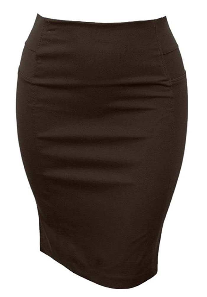 Women's Plus Size Stretch Knit Pencil Skirt Knee Length Side Elastic Panel Mocha) SA9608