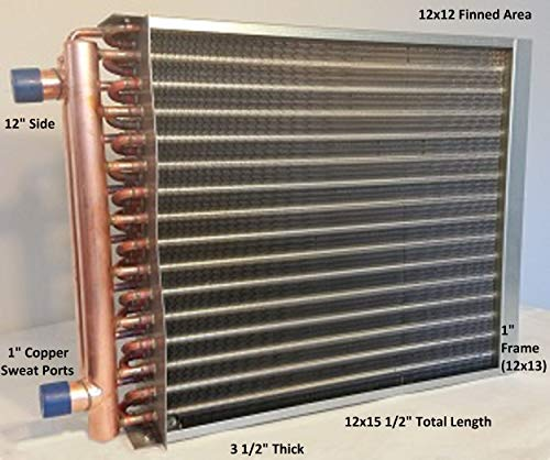 "12x12 Water to Air Heat Exchanger~1"" Copper Ports w/EZ Install Front Flange"