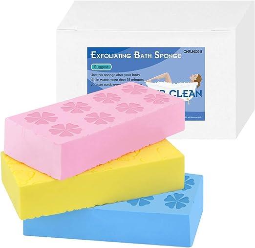 Amazon Com 3 Pcs Exfoliating Bath Sponge Asian Bath Sponge For Shower Korean Moisturizer And Exfoliator Body Sponge Japanese Spa Cellulite Massager Dead Skin Sponge Remover For Body Home Kitchen