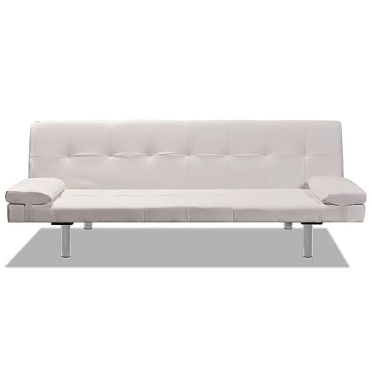 Luckyfu questo sofá Cama Ajustable con 2 Almohadas Blanco ...