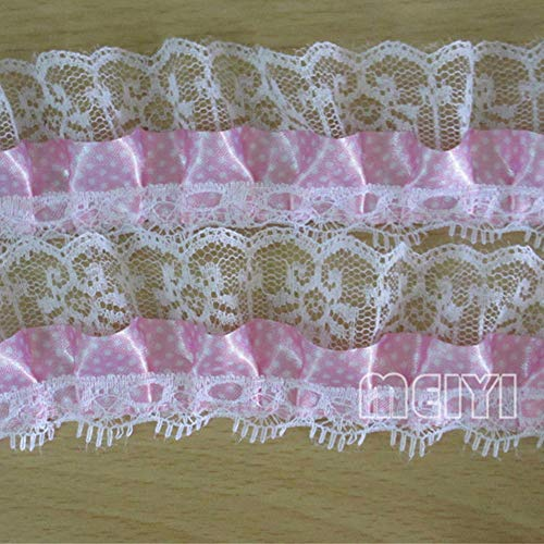 "2 Yard 2-Layer Pleated Organza Polka Dot Ruffled Satin Lace Edge Gathered Net Trim Ribbon 2"" Width Vintage Style Edging Trimmings Fabric Embroidered Applique Sewing Craft Wedding Dress DIY(Pink)"
