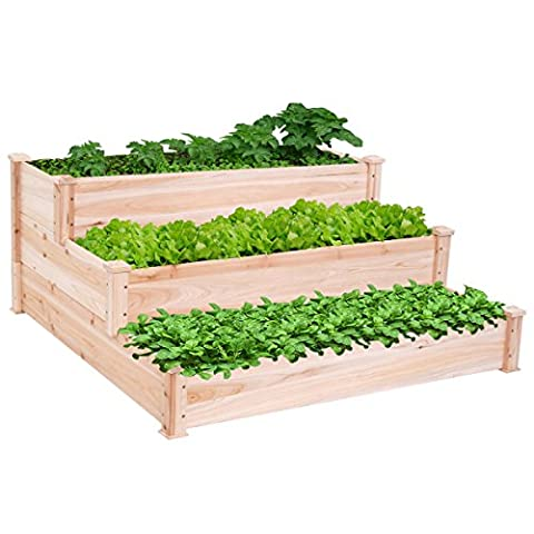 Wooden Raised Vegetable Garden Bed 3 Tier Elevated Planter Kit Outdoor Gardening - Dungaree Collection