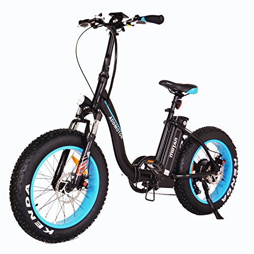 "Addmotor MOTAN Folding Electric Bike 750W, 20"", Fat Tire, (Black/Blue)"