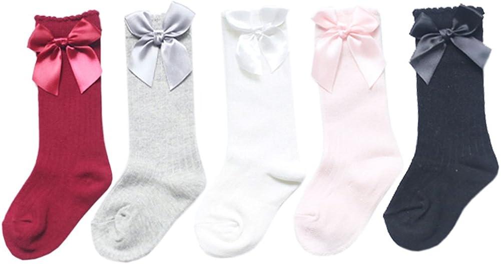 XPX Garment 5 Pares Arco Algodón Calcetines Largos para Bebé Niñas 0-4 años