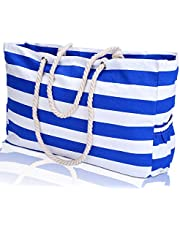 """KUAK Large Beach Bag, XXL L22""""xH15""""xW6"""" Cotton Rope Handles, Two Outside Pockets, Top Zipper, Blue Stripe Canvas Shoulder Beach Tote Bags with 100% Waterproof Phone Case, Key Holder, Bottle Opener"""