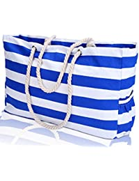 """Large Beach Bag, XXL L22""""xH15""""xW6"""" Cotton Rope Handles, Two Outside Pockets, Top Zipper, Blue Stripe Canvas Shoulder Beach Tote Bags with 100% Waterproof Phone Case, Key Holder, Bottle Opener"""