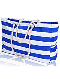 KUAK Extra Large Beach Bag, with 100% Waterproof Phone Case, Key Holder, Bottle Opener, Two Outside Pockets, Top Zipper Closure, Canvas Blue Stripe Cotton Rope Handles Shoulder Beach Tote Bags