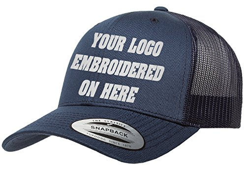 Custom Trucker Hat. Yupoong. Embroidered. Your Own Logo Curved Bill Snapback. (Navy) ()