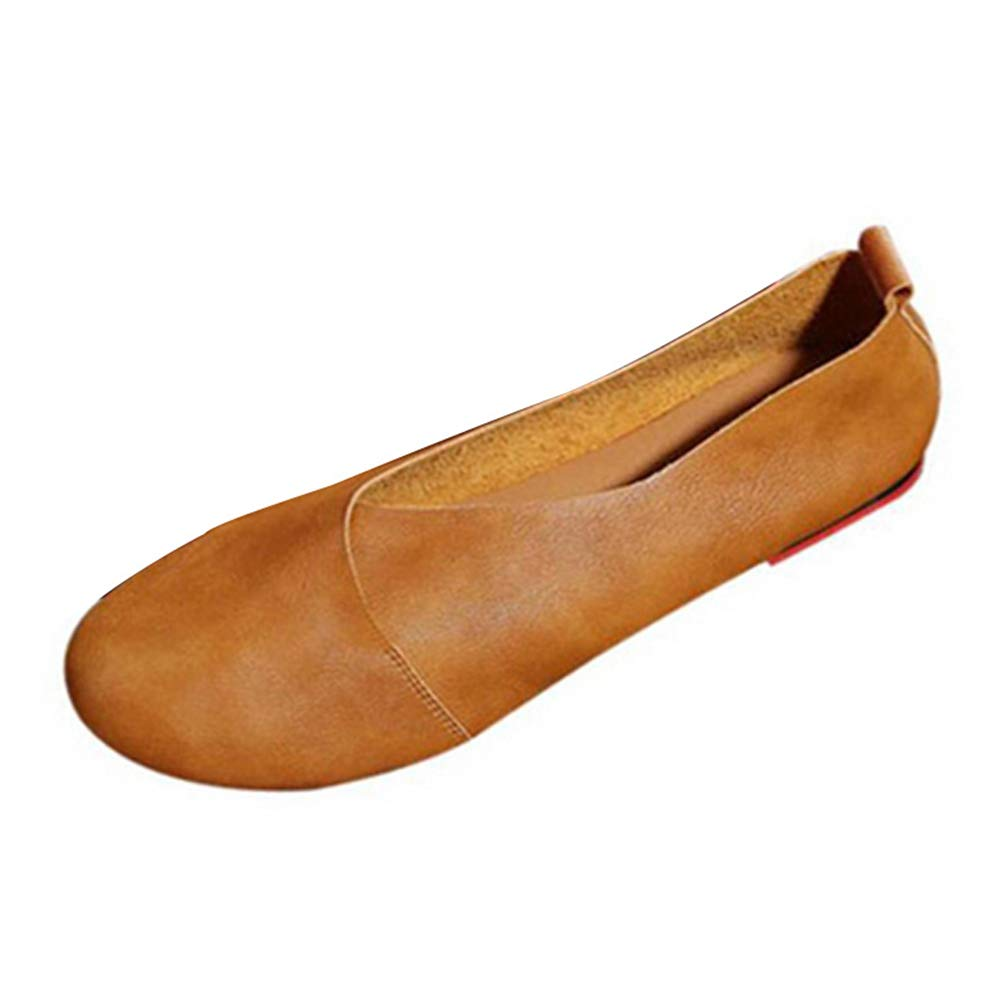 JRenok Femmes Cuir B00GXAHOCS Chaussures Plates Vachette en Chaussures Cuir Cousu Main Mocassins Vachette Souple Printemps Flats Casual Chaussures Marron 26ae0f0 - automaticcouplings.space