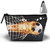 Soccer Fireball Scores A Goal On The Net Fashion Travel Bag Trapezoid