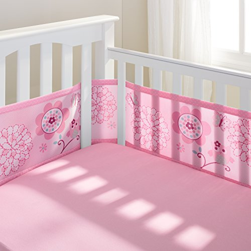 Find Bargain BreathableBaby | Mesh Crib Liner | Pink Owl and Pink
